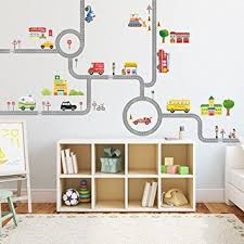 Wall Stickers For Kitchen by Amazon Com Decowall Da 1404 The Road And Cars Kids Wall Decals