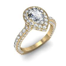 Pear Shaped Wedding Ring by Pave Pear Shaped Halo Art Deco Engagement Rings