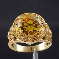 men vintage rings images Size 9 10 11 men 39 s round yellow topaz gemstone 18k yellow gold jpg