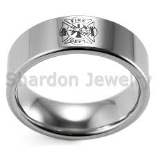 Firefighter Wedding Rings by Shardon Classic Ring Men 8mm Pipe Tungsten Carbide Firefighter