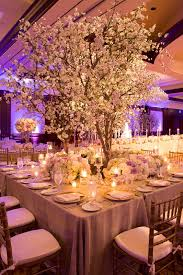 Wedding Trees Elegant White Lavender Ballroom Wedding With Cherry Blossom