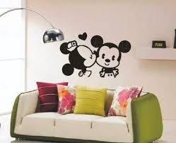 Disney Bedroom Wall Stickers Mickey Mouse Vinyl Wall Decal Cute Kiss Kissing Disney Mice Love