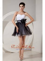 glamorous black and white short prom dress a line princess