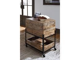 signature design by ashley viganni mango wood metal file cabinet