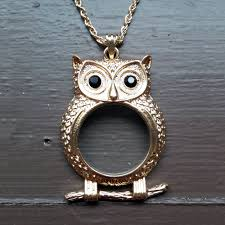 steampunk owl necklace images Steampunk owl monocle necklace gold tone jpg