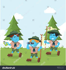 group blue boyscout walking forest stock vector 630115094