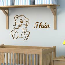 stickers chambre b b personnalis stickers chambre bébé personnalisé avec le prénom et un petit ours
