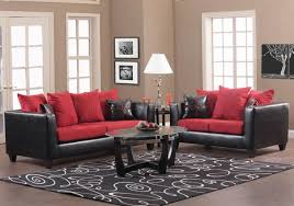 Red And Black Sofa by Red Fabric And Black Vinyl Modern Sofa U0026 Loveseat Set W Options
