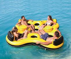 Floating Pool Lounge Chairs Floating Bar Party Raft 4 Person Inflatable Lounger Water Float