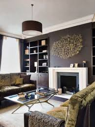 simple feature wall painting in contemporary living room design