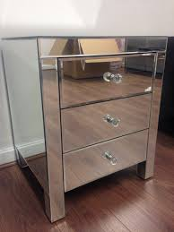mirrored furniture bedside table cabinet 3 drawers x 1 sophie