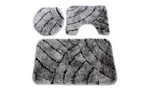 Silver Bath Rugs Anti Slip Bath Mat Rug Set 3 Piece Bathroom Toilet Seat Cover