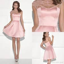 2016 blush pink hottest short cocktail dresses a line sheer neck