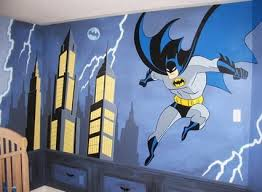 Cartoon Wall Painting In Bedroom Cool Batman Bedroom With Stylish Design Ideas Painting Batman