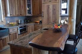 reclaimed chestnut with walnut slab bartop rustic kitchen