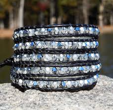leather bracelet with swarovski crystal images Swarovski crystal leather wrap bracelets silver chrome onsra jpg