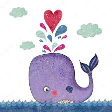 cartoon illustration with whale and red heart marine illustration