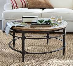 reclaimed wood round coffee table round pottery barn