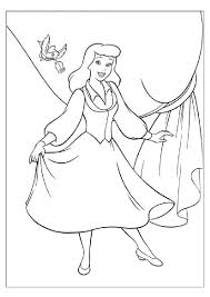 cute cinderella singing and dancing u2013 educational coloring page