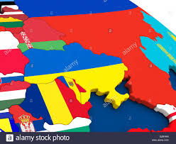Map Of Countries Map Of Ukraine On Globe With Embedded Flags Of Countries 3d Stock