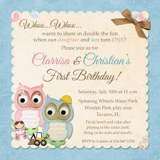 twin birthday invitation cute double hooting style