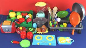 Plastic Toy Kitchen Set Toy Kitchen Velcro Fruits Vegetables Pretend Cooking Breakfast
