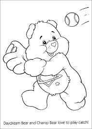care bears playing baseball coloring