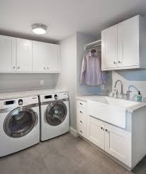 Laundry Cabinet With Hanging Rod Farmhouse Laundry Room Laundry Room Transitional With Hanging Rod
