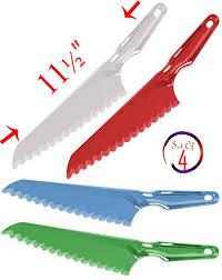 set of 4 plastic lettuce knife bread knife with serrated edge