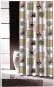 Seashell Fabric Shower Curtain Tropical Sands And Tans On