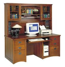 Modern Computer Desk With Hutch by Varnished Brown Wooden Computer Desk With Triple Hutch Besides