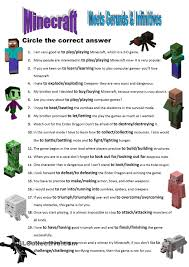 how to write on paper in minecraft minecraft meets gerunds infinitives worksheets pinterest minecraft meets gerunds infinitives