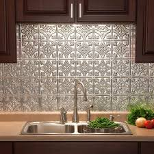 Kitchen Metal Backsplash Ideas Interior Fasade In X In Traditional Pvc Decorative Backsplash