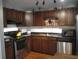 Kitchen Cabinet Restaining by Stained Kitchen Cabinets Double Handle Lavatory Faucet Sink Wooden