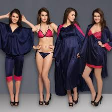 bridal honeymoon nightwear buy 8 pcs satin nightwear set in navy pink robe nightie