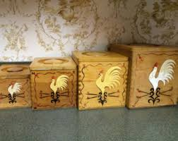 wooden canisters kitchen chicken canister set etsy