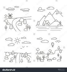 vector set four country landscape illustrations stock vector