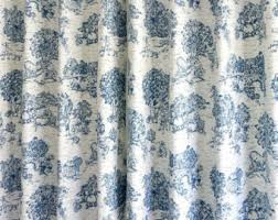 Blue Toile Curtains Toile Curtain Etsy