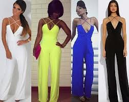 palazzo jumpsuit 2018 plunge v neck backless wide leg