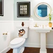 popular toilet room decor buy cheap toilet room decor lots from 3d hole view vivid cats wall sticker bathroom toilet living room decoration animal vinyl decals art