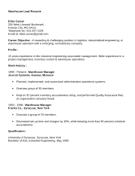 Warehouse Resume Template Clean Warehouse Lead Resume Example Template