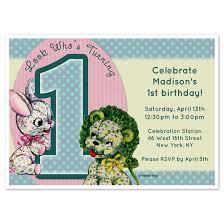 vintage lion u0026 bunny 1 year old birthday invitations u0026 cards on