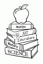 books and apple coloring page for kids back to