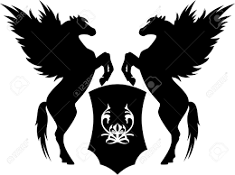 two rearing pegasus with shield vector illustration royalty free