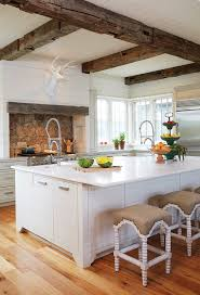 White Wood Ceiling by Country Kitchen With Rustic Wood Ceiling Beams Country Kitchen
