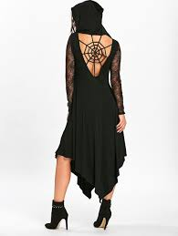 Halloween Skeleton Cut Out by Halloween Spider Web Cut Out Midi Handkerchief Dress Black Xl In