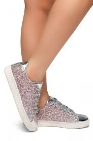 down for you flat heel glitter sneaker with lace upper silver