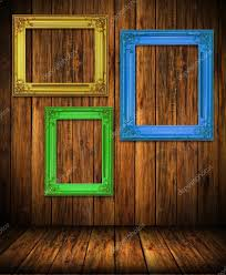 antique colorful frame on wood wall stock photo zmkstudio