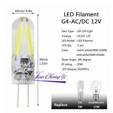 heat generating light bulbs g4 cob filament led bulb home chandelier light 2w ac 220v white warm