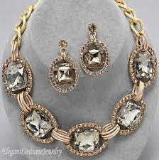 gold costume necklace images Champagne gold chunky crystal statement necklace set elegant jpg